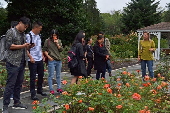 Horticulture Supervisor Shauna Moore (right) describes the operation of the Rudolf van der Goot Rose Garden to the delegates from the Guizhou Botanical Garden in Guiyang City, China.