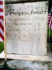 The headstone of Capt. John Morris Foght stands in the Baptist Church Cemetery on Johnson Street. Foght was granted 200 acres of land in Coshocton County in 1830 by the federal government. He deeded the land to his grandsons, James Madison Burt and Washington Foght Burt.
