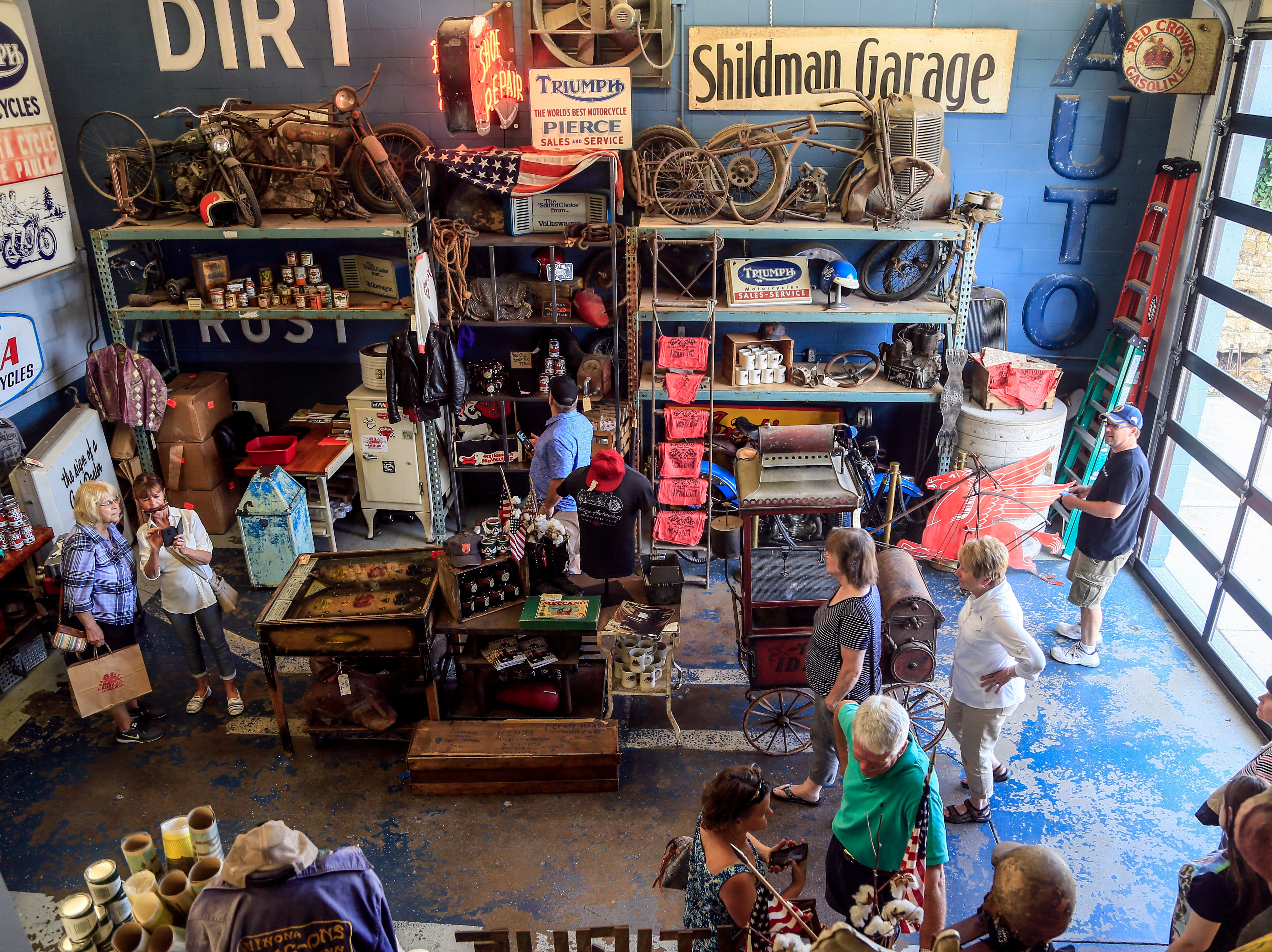 Mike Wolfe's store Antique Archaeology draws many visitors to LeClaire June 27, 2018.