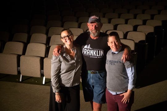 Sara Routh, director of programming for Girls Rock Des Moines, Jeff Young, owner of Franklin Junior High, and Jen Carruthers, vice president of Girls Rock Des Moines stand for a photo at Franklin Junior High Sept. 17, 2018.