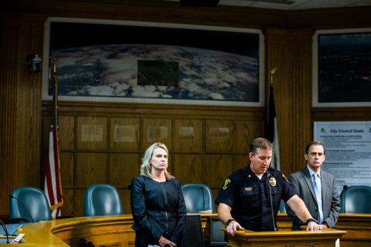Story County Attorney Jessica Reynolds, Commander of the Ames Police Department Geoff Huff and Ames Police Chief Charles Cychosz, meet with the media to provide information about the death of Celia Barquin Arozamena, an Iowa State student athlete, during a news conference on Tuesday, Sept. 18, 2018, in Ames.