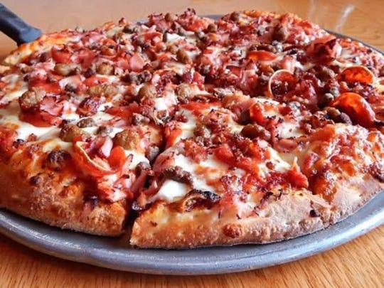 The Meatza pizza at Pisanello's Pizza in Mt. Pleasant.