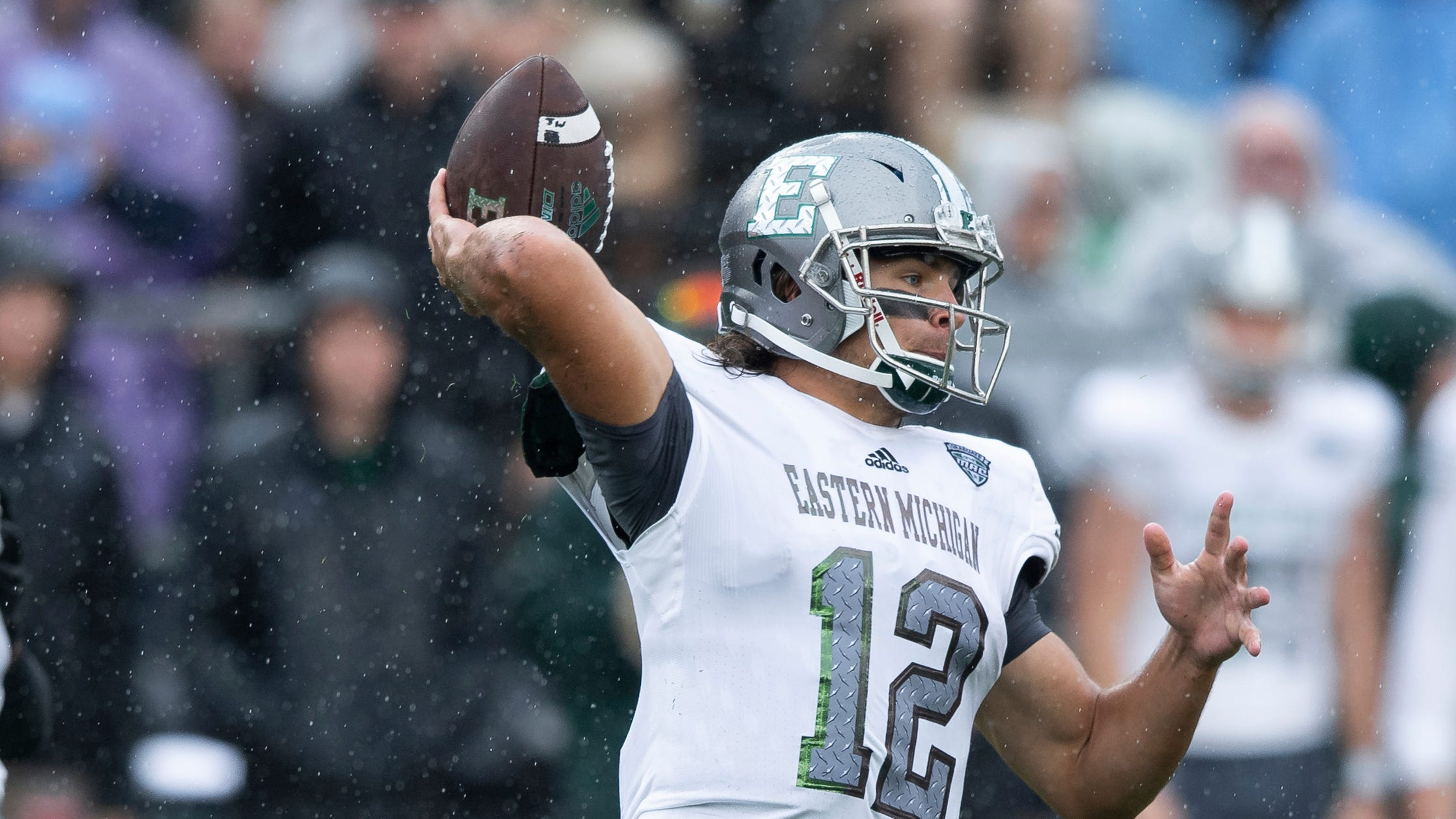 WEST LAFAYETTE, IN - SEPTEMBER 08: Eastern Michigan Eagles quarterback TylerWiegers (12) throws downfield during the college football game between the Purdue Boilermakers and Eastern Michigan Eagles on September 8, 2018, at Ross-Ade Stadium in West Lafayette, IN. (Photo by Zach Bolinger/Icon Sportswire) (Icon Sportswire via AP Images)