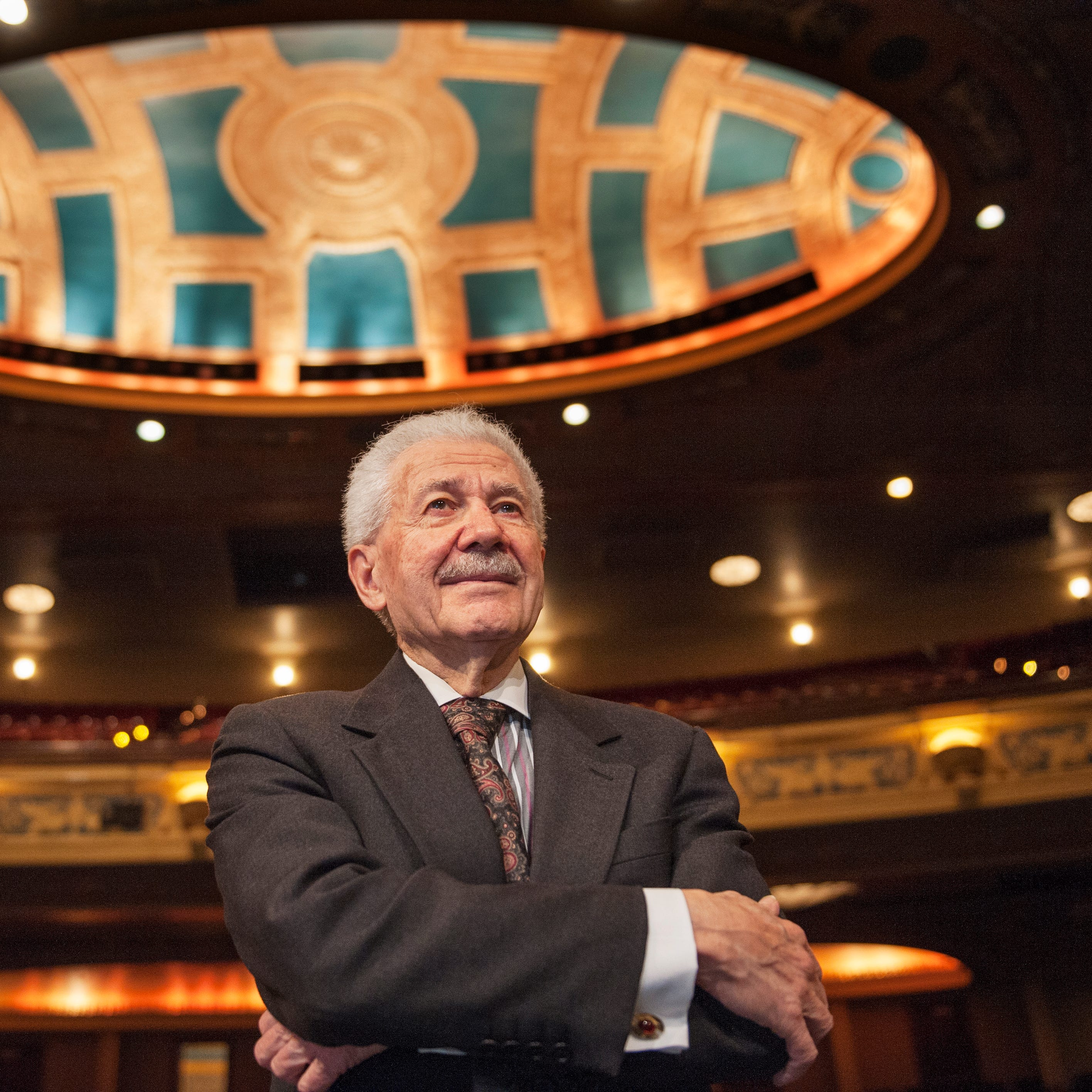 Michigan Opera Theatre artistic director David DiChiera inside the Detroit Opera House in Detroit. DiChiera, who founded MOT in 1971 and has served as its director ever since, will retire in the summer of 2017. Photos taken on Friday, March 4, 2016. (John T. Greilick, The Detroit News)