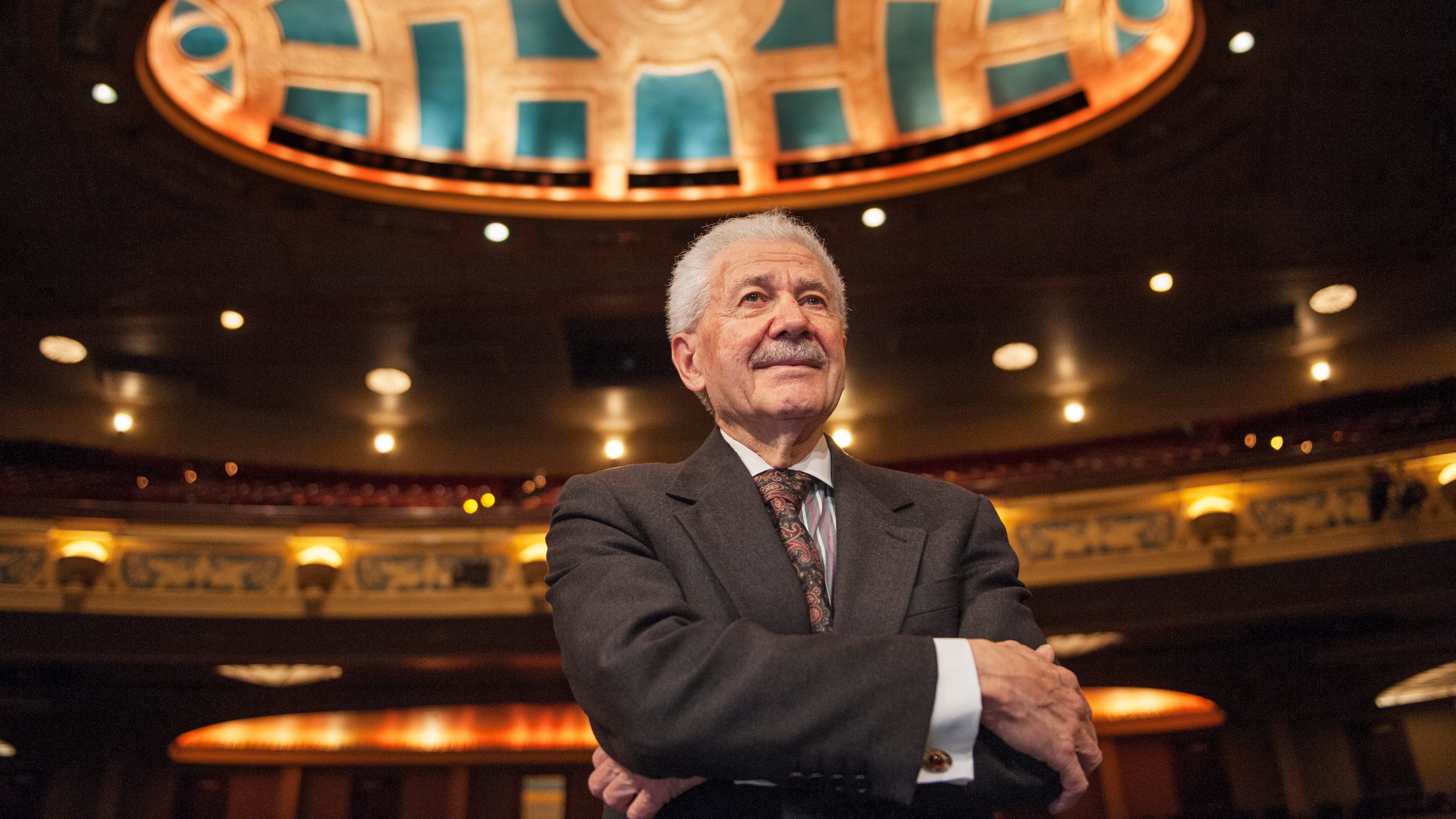 Michigan Opera Theatre artistic director David DiChiera inside the Detroit Opera House in Detroit.  DiChiera, a cultural powerhouse who brought opera back to the Motor City and helped jump-start downtown's revival, died Tuesday.