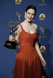 Lead actress in a comedy series winner Rachel Brosnahan poses with her Emmy during the 70th Emmy Awards at the Microsoft Theatre in Los Angeles, California on September 17, 2018. (