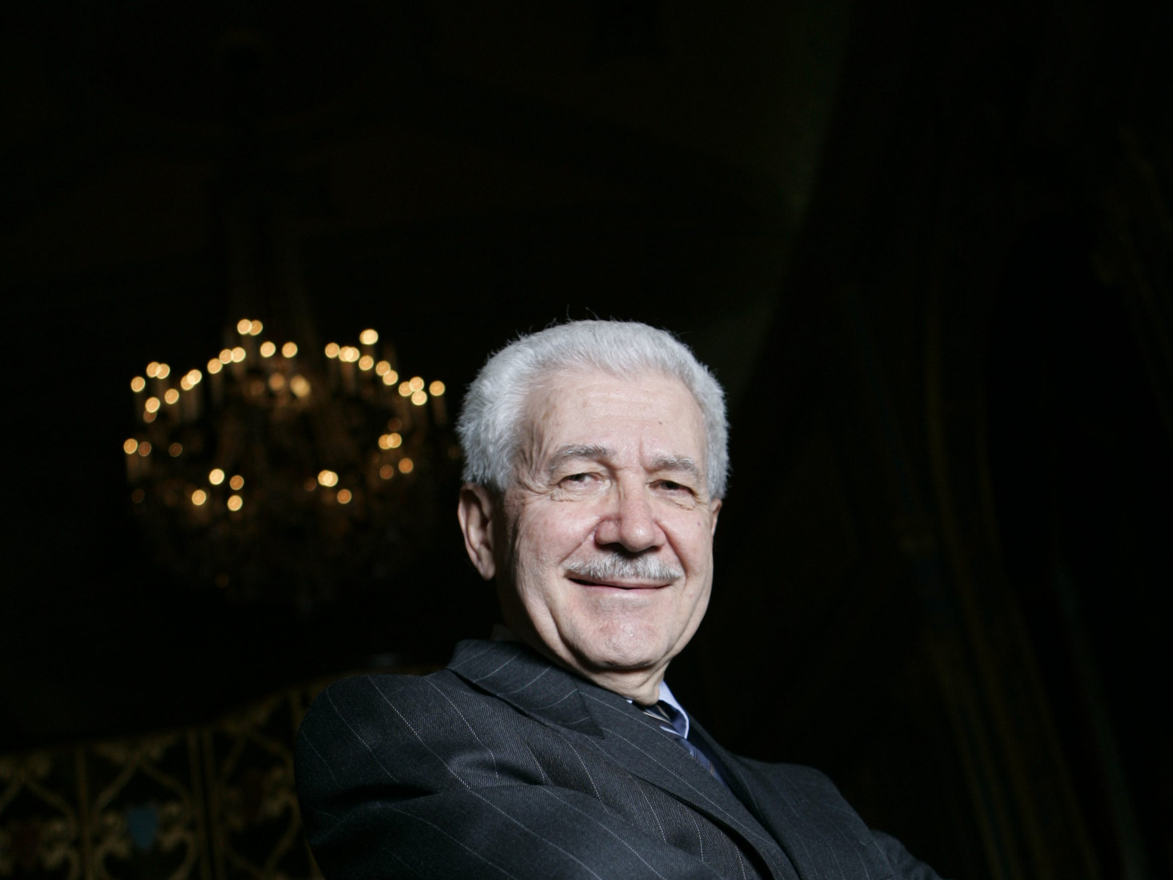 David DiChiera, founding general director of Michigan Opera Theatre, stands in the main hall of the Detroit Opera House on  April 28, 2005.