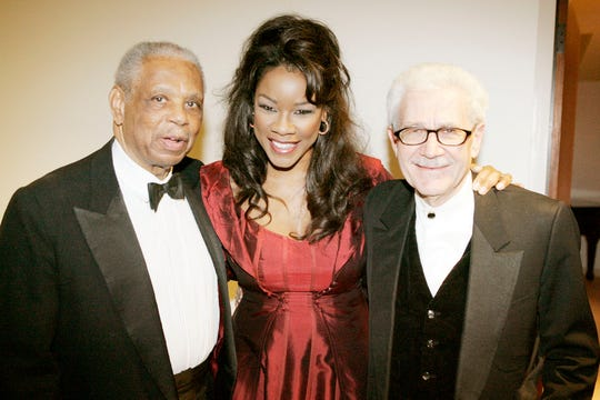 Federal Judge Damon Keith of the U.S. Court of Appeals for the Sixth Circuit with opera mezzo-soprano Denyce Graves and Detroit Opera General Director David DiChiera during the 30th Annual DSO Classical Roots Concert celebrates the contribution of African-Americans to the classical music tradition.