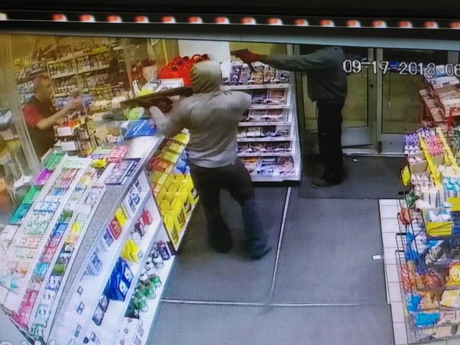 Harper Woods police are searching for two men who robbed a Citgo gas station on Harper Avenue Monday morning.