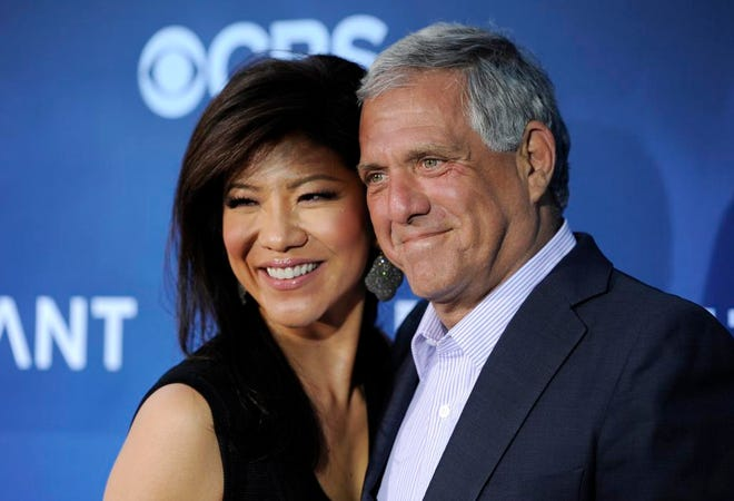 """Julie Chen and husband Les Moonves in 2014. Chen announced in a videotaped message Tuesday that she would not return to """"The Talk."""""""