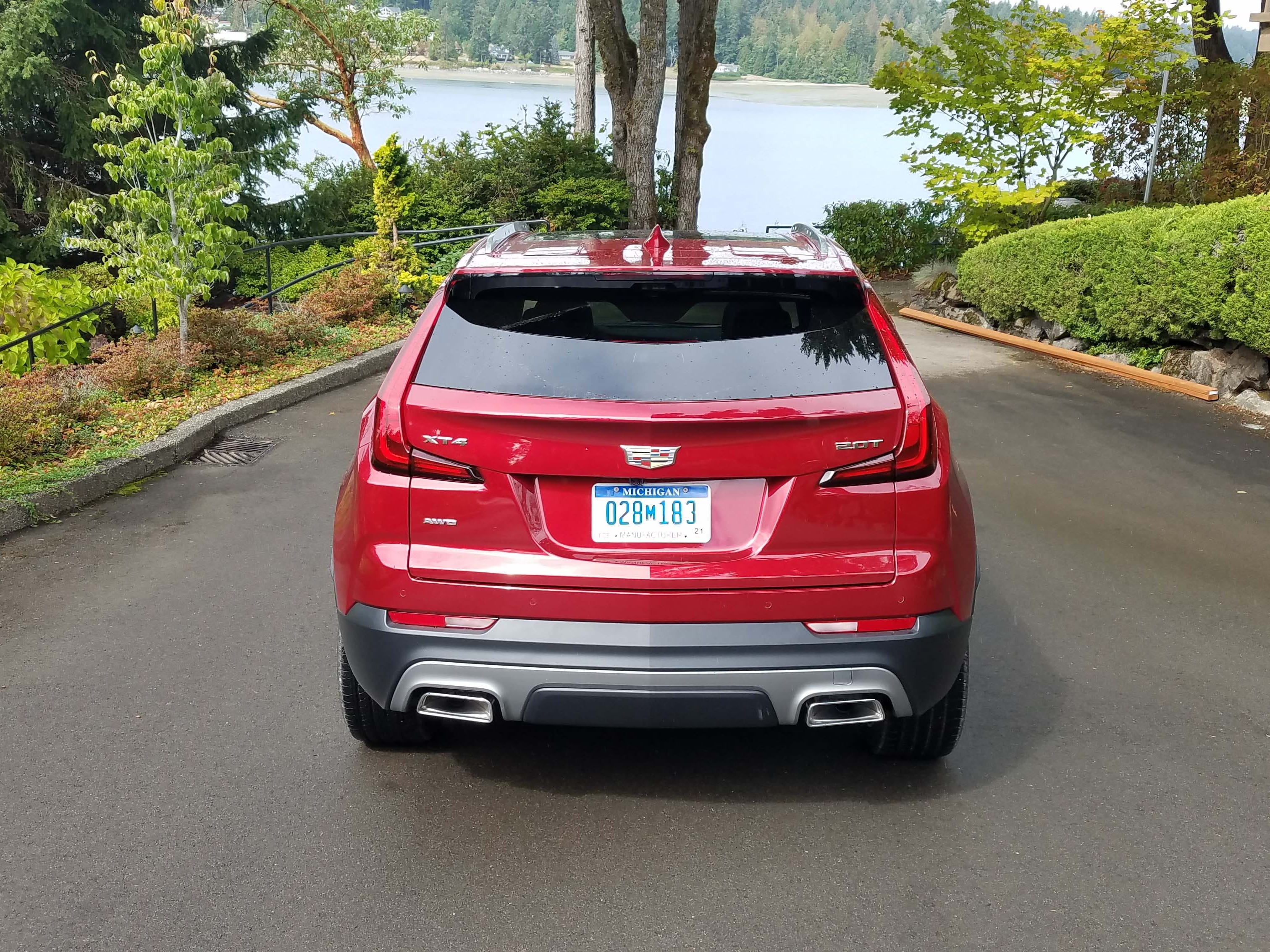 """With its big """"tornado"""" taillights and sculpted lines, the 2019 Cadillac XT4 is instantly recognized from the rear."""