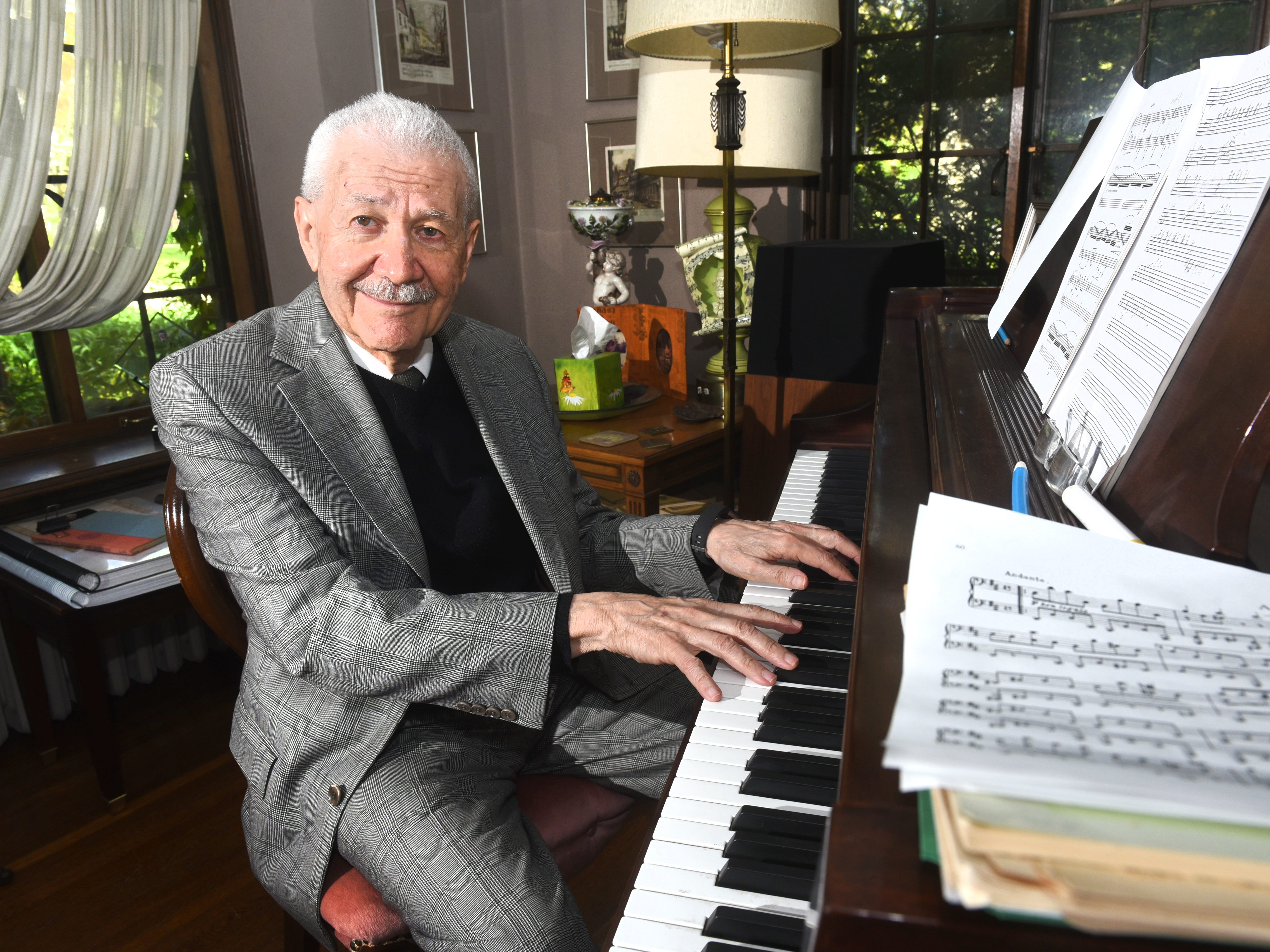 """David DiChiera,  Michigan Opera Theatre, speaks about the play """"Cyrano"""" and his upcoming retirement during an interview from his Detroit home on Tuesday, May 9, 2017."""