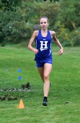Maddie Klein of Horseheads runs to second place in the girls race at the STAC West cross country championship meet Sept. 17, 2018 at Sperr Memorial Park in Big Flats.