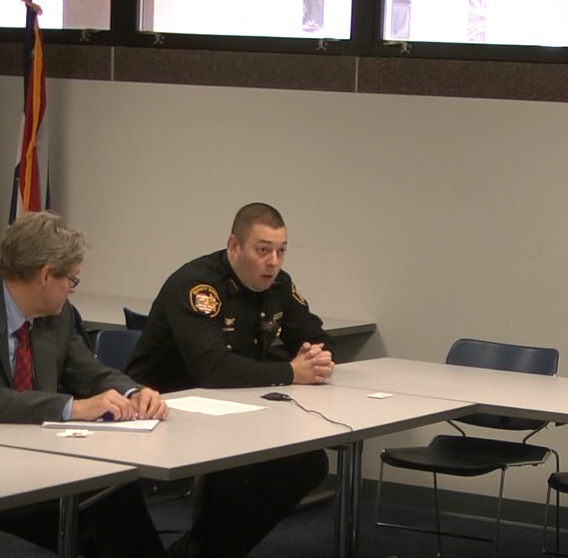 Sandusky County Sheriff's Office Deputy Brandon Kimmet, with attorney George Gerkin, was interviewed by Lucas County Sheriff's Office Internal Affairs in April and May regarding his role in deleting items from a county-owned computer.