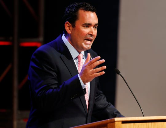 Colorado Republican gubernatorial candidate Walker Stapleton responds to a question during a televised debate in Denver in this June 18, 2018, file photo.