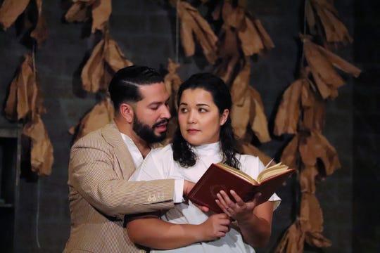 """David Pimentel and Carmen Rivera in a scene from Lab Theater's """"Anna in the Tropics"""""""