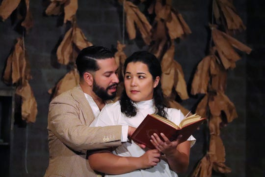 "David Pimentel and Carmen Rivera in a scene from Lab Theater's ""Anna in the Tropics"""