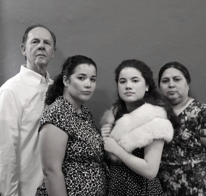 """Four cast members of Lab Theater's """"Anna in the Tropics"""" (from left): Ernesto Lasso de la Vega, Carmen Rivera, Chloe Tsai and Grace Delvalle-Hernandez."""