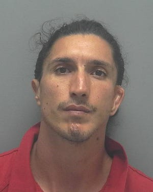 Derrick Vasquez, 24, was arrested Tuesday and charged with causing cruelty/pain and suffering to an animal after he was accused of shooting a dog in Lehigh Acres last month. The 3-year-old pit bull survived and is thriving at Big Hearts for Big Dogs Rescue.