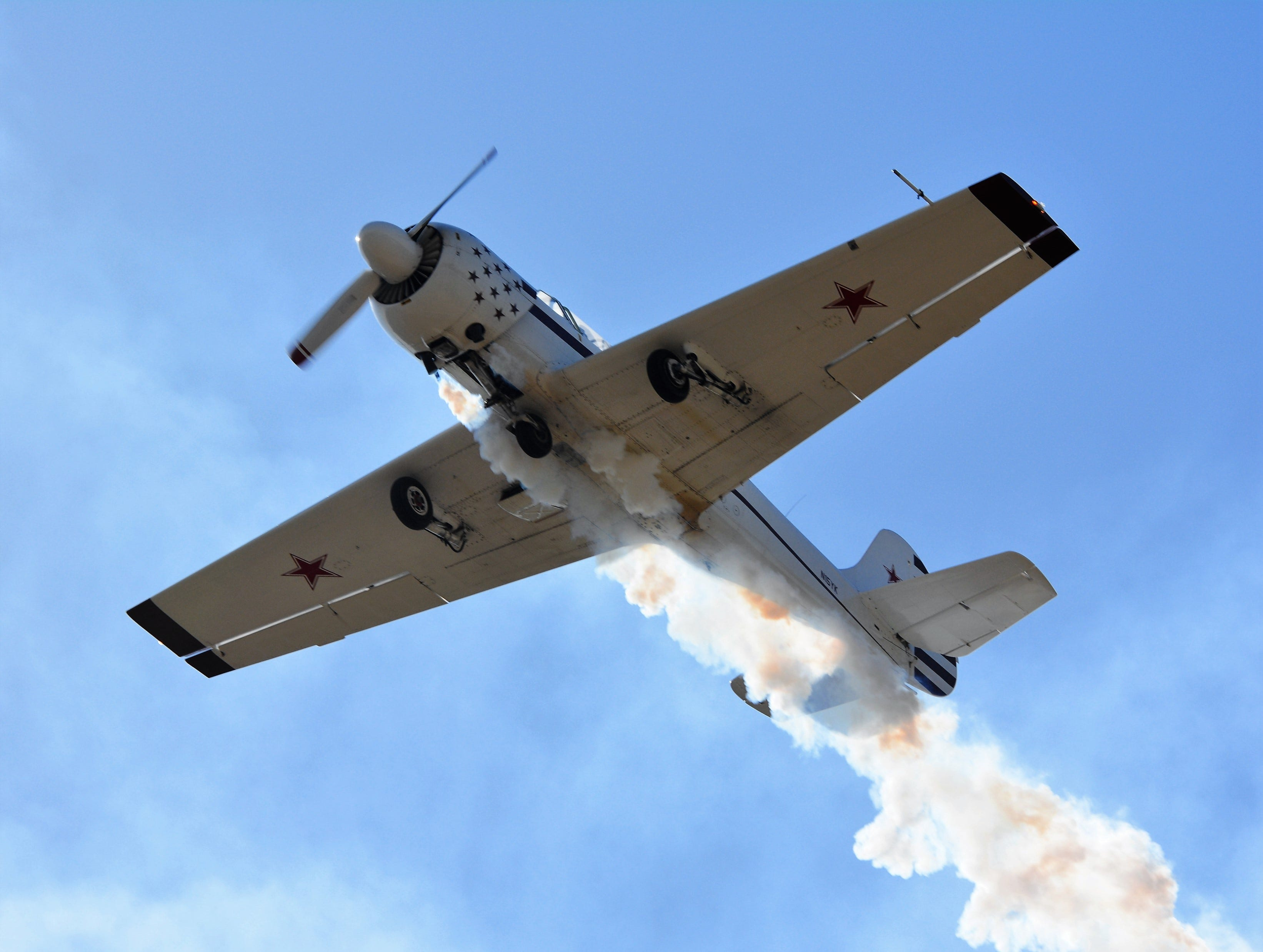 A plane is seen close up during a re-enactment presented during the Oconto Fly-in, Car & Tractor Show on Sept. 15 at the Oconto-J. Douglas Bake Municipal Airport.