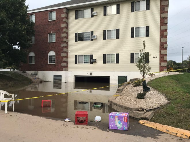 An apartment building at 845 Bader St. in Green Bay was left uninhabitable by flooding from a Monday night thunderstorm.