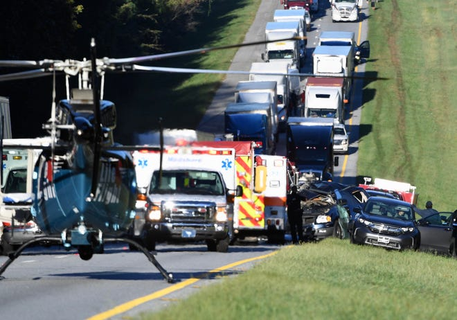 An accident on Interstate 85 northbound on Tuesday, Sept. 18, 2018, blocked traffic.