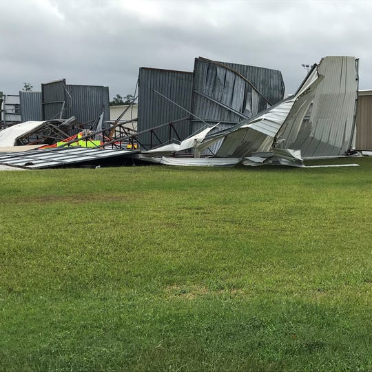 Strong winds from Hurricane Florence destroyed a hangar at the Marion County Airport