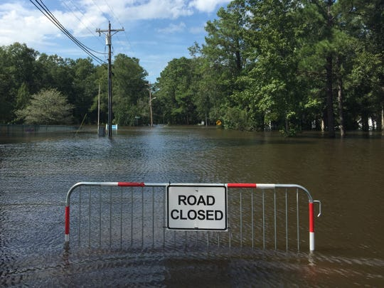 The Long Avenue neighborhood in Conway is pictured on Monday, September 17, 2018, where a nearby swamp has flooded in the aftermath of Hurricane Florence.