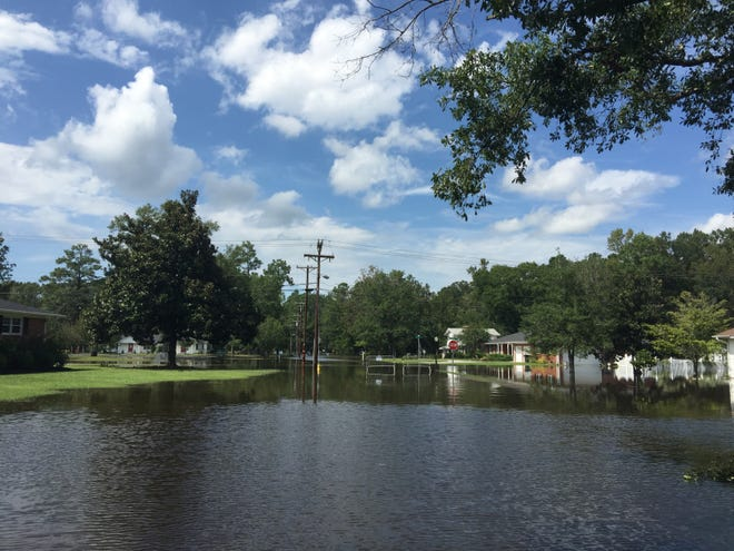 The Long Avenue neighborhood in Conway, flooded in the aftermath of Hurricane Florence, is pictured on Monday, Sept. 17, 2018.