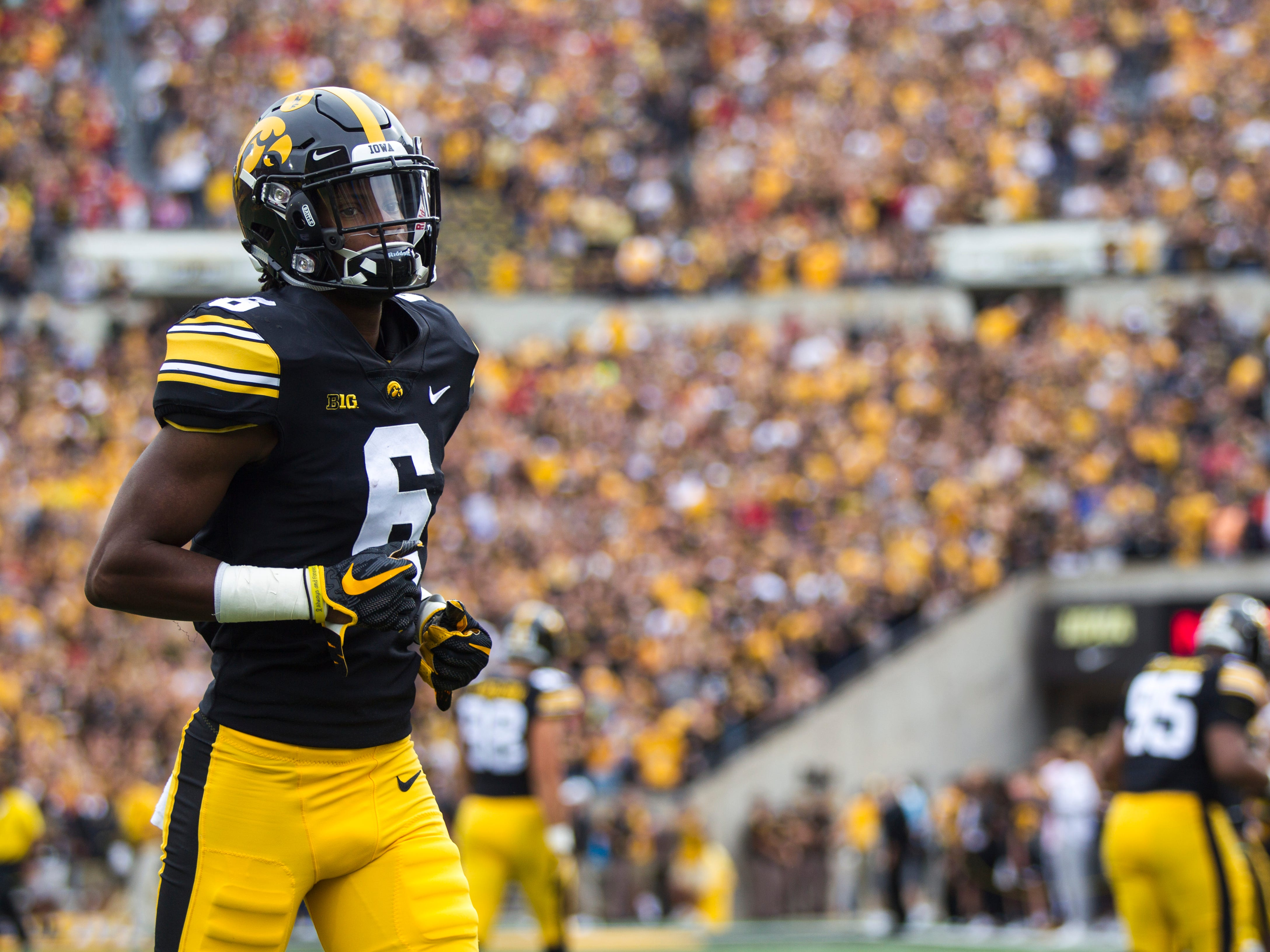 Iowa wide receiver Ihmir Smith-Marsette (6) runs on the field before the Cy-Hawk NCAA football game on Saturday, Sept. 8, 2018, at Kinnick Stadium in Iowa City.