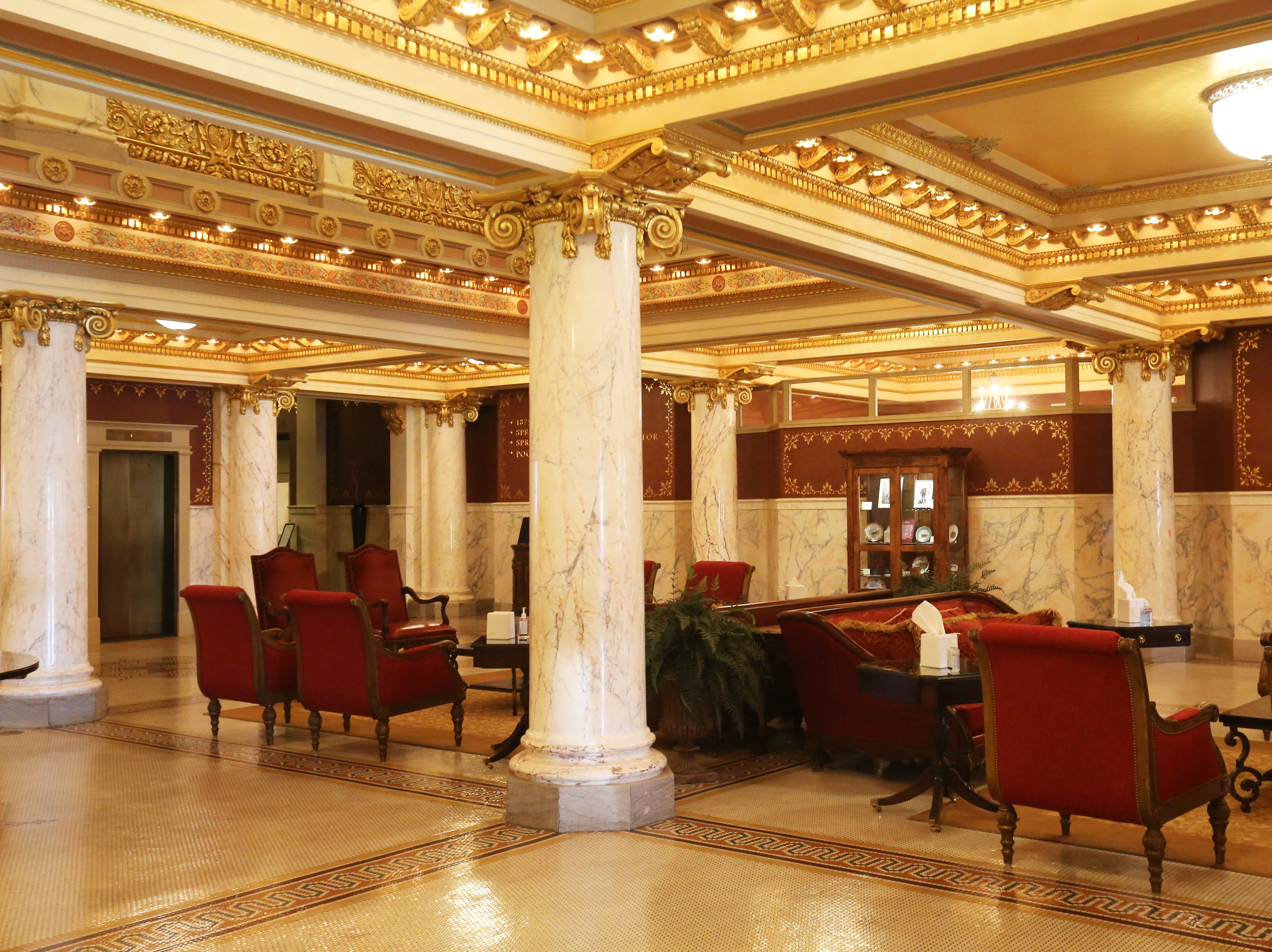 Guest lobby of the French Lick Springs Hotel in 2018.