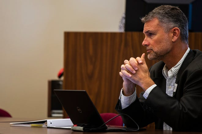 "Superintendent Stephen Murley is seen during a work session on Tuesday, Sept. 18, 2018, at the Iowa City Community School District offices in Iowa City. Murley describes the level of state funding over the past decade as ""unforgivable."""