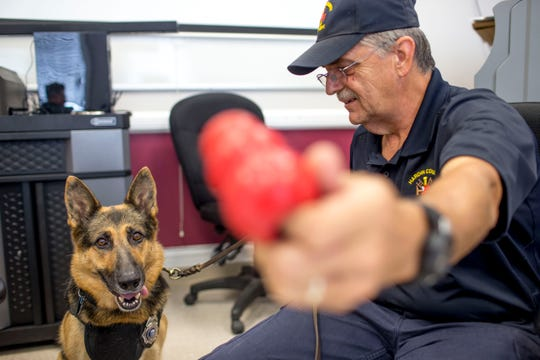 William Branum, Hardin County fire district 14 chief, holds out a Kong dog toy to distract Jodi-Le at Hardin County Circuit Court in Savannah, Tenn., on Monday, Sept. 17, 2018.