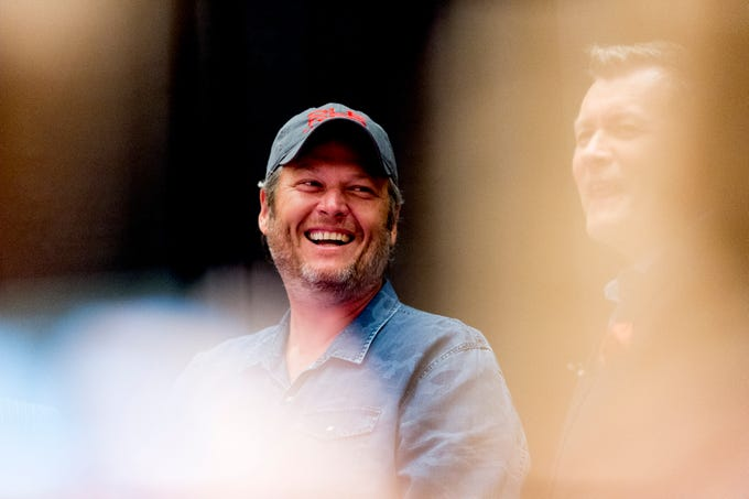 Country singer Blake Shelton laughs during an announcement ceremony for Ole Red Gatlinburg in Gatlinburg, Tennessee on Tuesday, September 18, 2018. Shelton has partnered with Ryman Hospitality to bring Ole Red to Gatlinburg. The 13,500-square-foot entertainment venue with a two-story bar, restaurant and performance space with space for 325 patrons is slated to open spring 2019.
