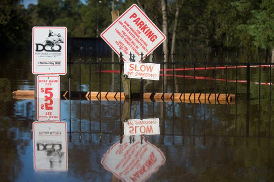 Signs peak above the Cape Fear River outside Deep Creek Outfitters in Fayetteville, N.C. Tuesday, Sept.18, 2018.  Tuesday morning the river stands inches below 60 feet. The flood stage for the river is 35 feet.