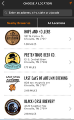 The BrewFund app, which allows people to send and receive beers, allows you to select from nearby breweries or search by location.