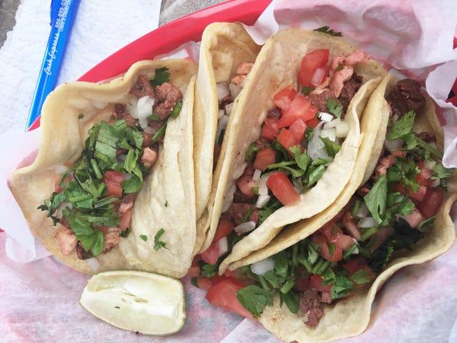 Taqueria La Potocino offers a choice of five meats in its soft tacos. Lucia Vazquez makes the corn tortillas fresh.