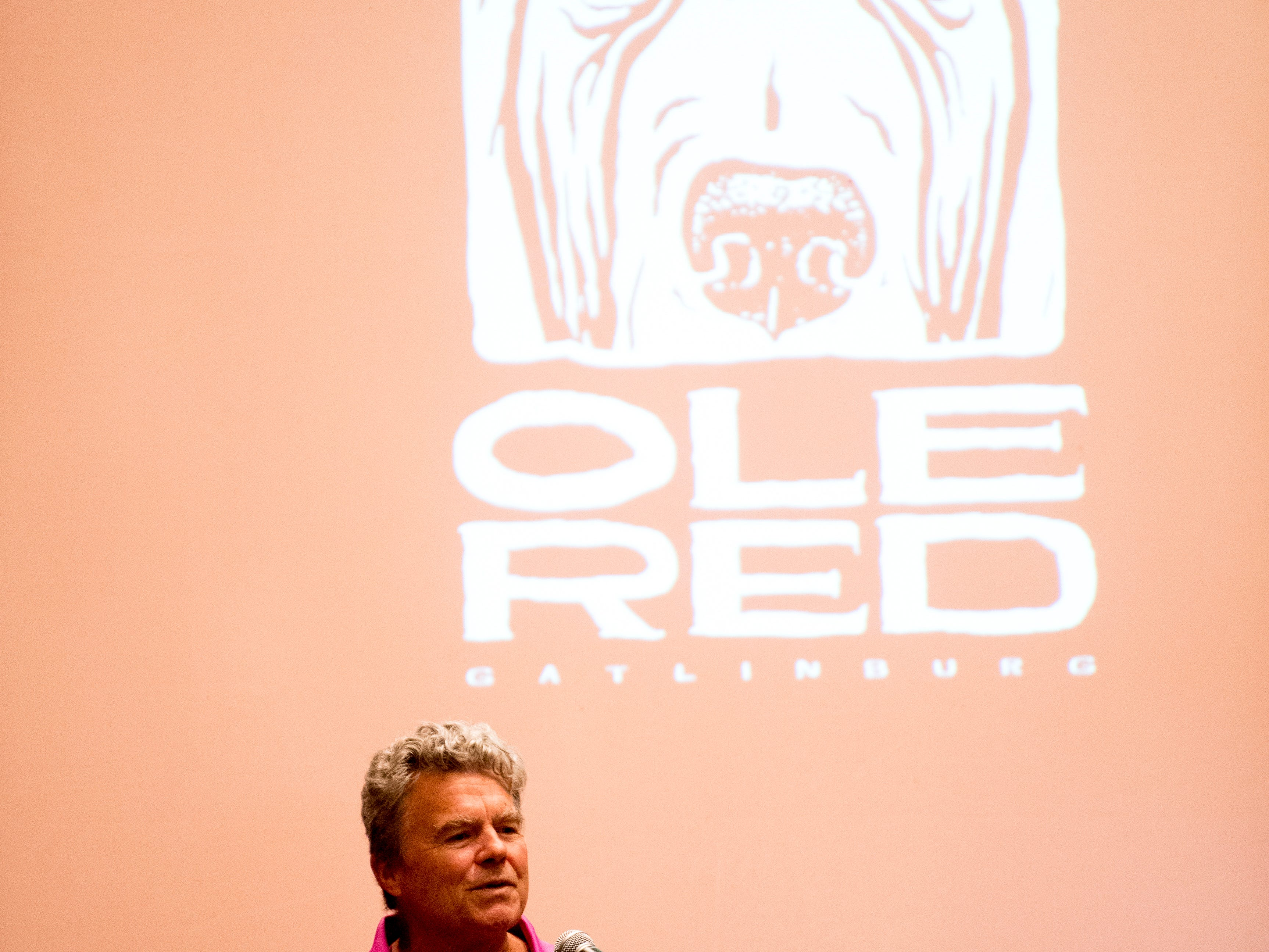 Gatlinburg Mayor Mike Warner speaks during an announcement ceremony for Ole Red Gatlinburg in Gatlinburg, Tennessee on Tuesday, September 18, 2018. The 13,500 square-foot entertainment venue with a two-story bar, restaurant and performance space with space for 325 patrons is slated to open spring 2019.