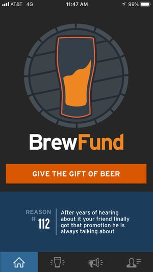 The BrewFund app allows the user to send and receive beer from craft beer taprooms.