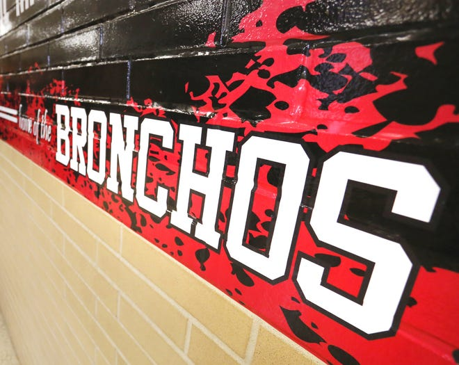 Home of the Bronchos on a hallway Tuesday, October 3, 2017, at Lafayette Jefferson High School.