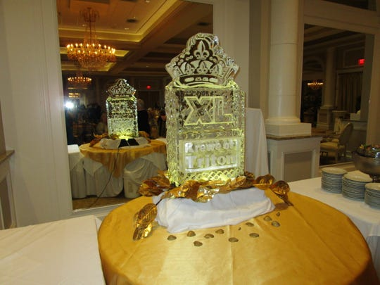 An ice sculpture featured at the Triton royalty party held on Sept. 14 at Le Pavillon in Lafayette.