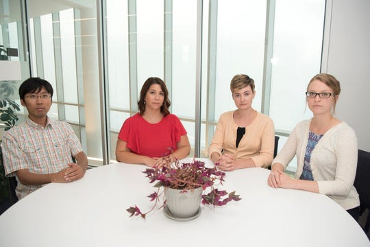 Dr. Rachel Lovell, second from left, and key members of her Sexual Assault Kit Initiative research team Jeff Huang, left, Margaret McGuire, second from right, and Joanna Klingenstein.