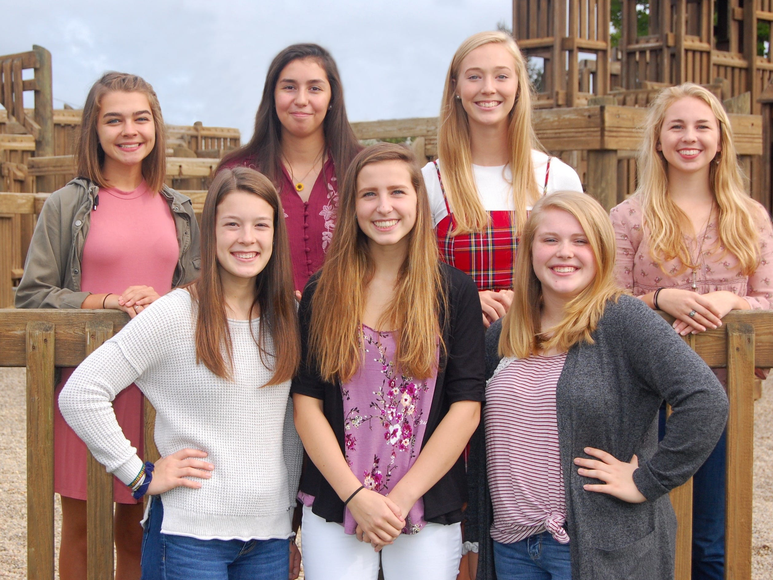 Berne Union Homecoming Court: (left to right, top row) Audrey Swick, Keri Speakman, Queen Sidney Little and Jacquie Watson. (left to right, bottom row) Sydney Miller, Abbi Hintz and Kaiya Smith