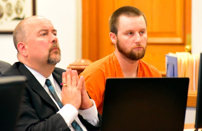 Shawn Lawson, right, sits next to his attorney Andrew Sanderson during a hearing in Athens County Common Pleas Court in Athens. In June 2017, Lawson was sentenced to 40 years in prison for raping multiple women. Despite previously being convicted of a felony, a sample of Lawson's DNA was never collected by law enforcement agencies as is required by state law. Lawson committed other rapes after the felony conviction.