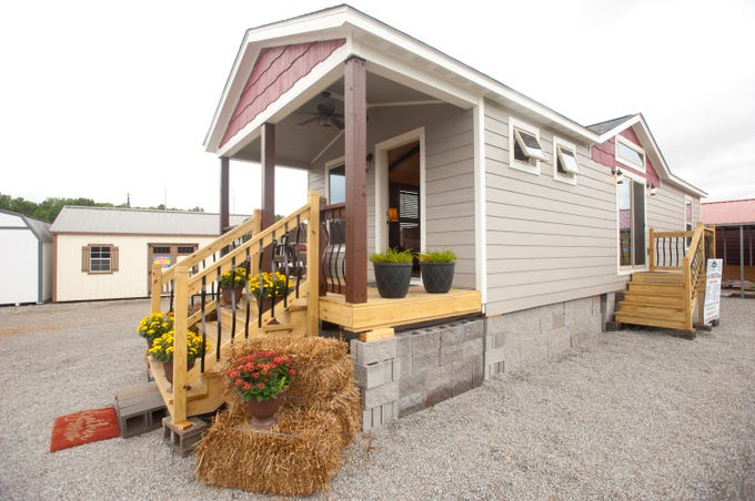 """Amish Made Cabins of Shepherdsville is making this """"White River"""" cottage, geared toward its elderly and disabled customers.September 10, 2018"""