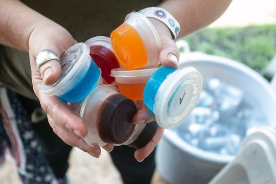 Multi-colored Jell-O shots.