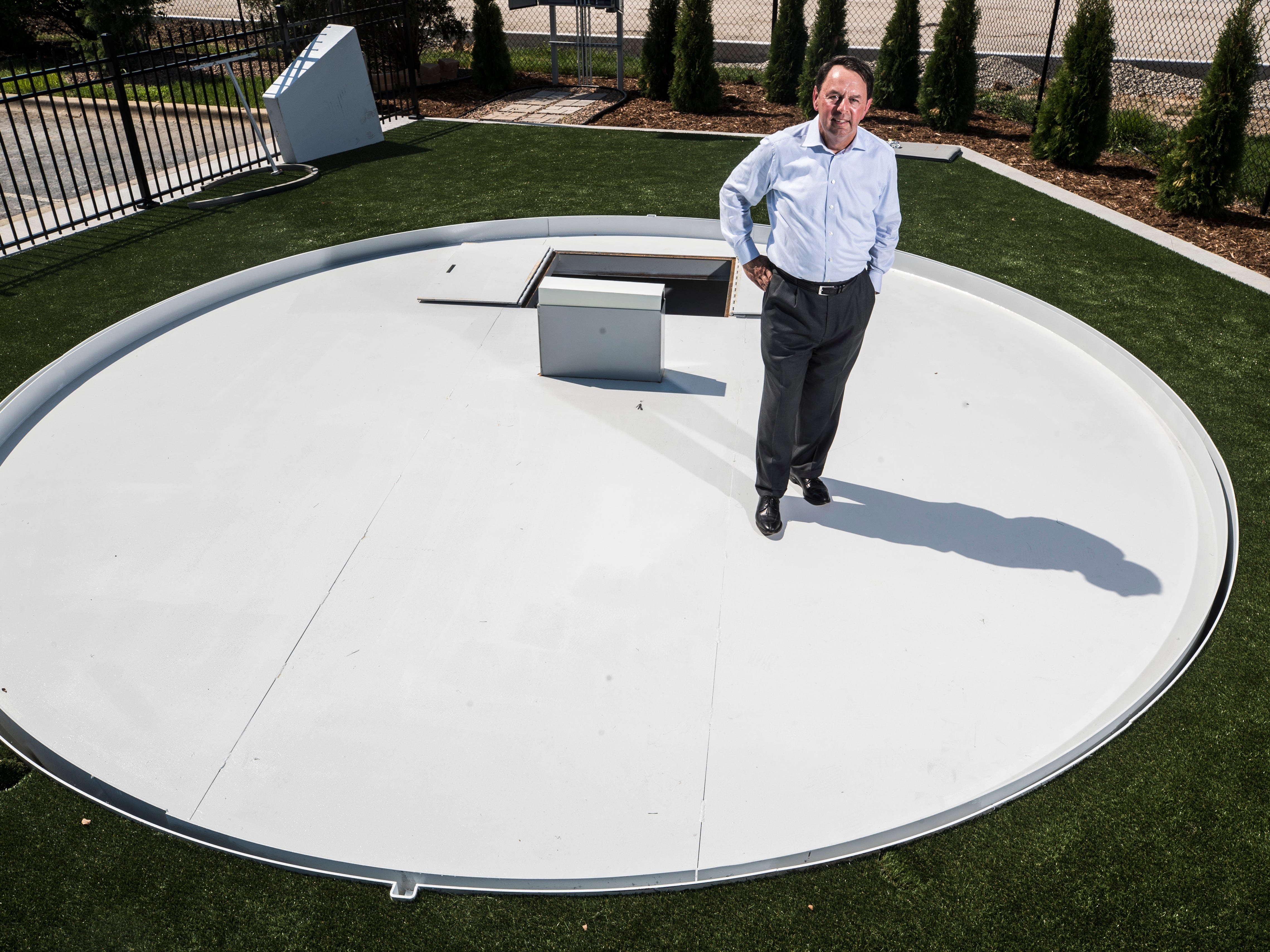 Wayne Estopinal, head of The Estopinal Group in Jeffersonville, had his architecture firm design a retractable pitcher's mound to aid in transition of the surface between baseball diamond and soccer pitch. The Tulsa Drillers have purchased one.