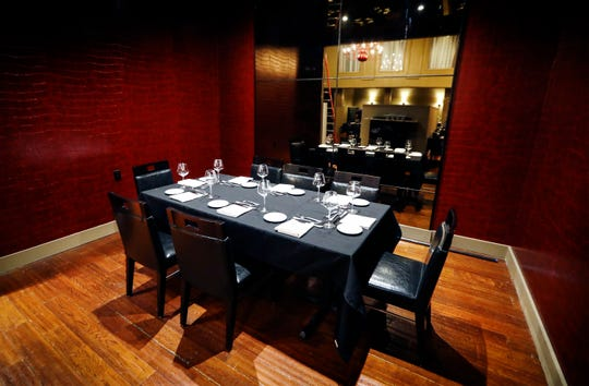 The semi-private dinning room in chef Judd Grisanti's new Ronnie Grisanti's Restaurant in the Regalia Shopping Center. This private nook is ideal for parties of eight guests.