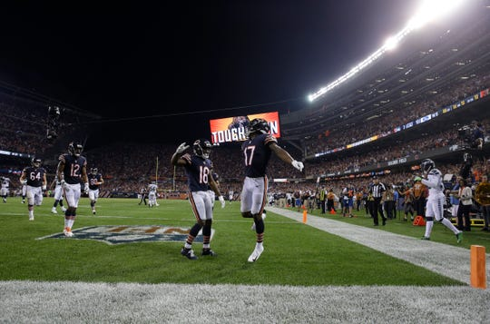 Chicago Bears wide receiver Anthony Miller (17) celebrates his touchdown against the Seattle Seahawks during the second half of an NFL football game Monday, Sept. 17, 2018, in Chicago. The Bears won 24-17.