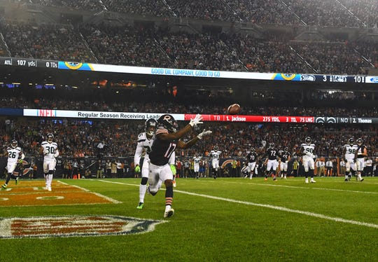 Sep 17, 2018; Chicago, IL, USA; Chicago Bears wide receiver Anthony Miller (17) makes a touchdown catch against the Seattle Seahawks during the second half at Soldier Field.